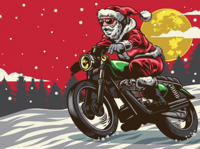 Of Course Santa Rides A Motorcycle